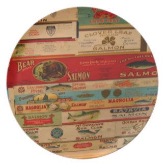Lachse können Vintage antike Aufkleber-Nahrungsmit Party Teller