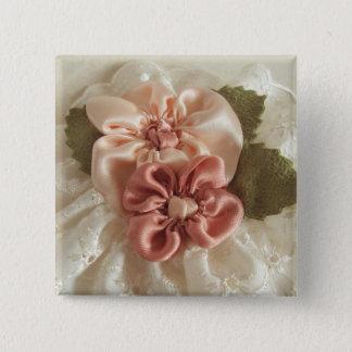 Lachsrosa-und Pfirsich-Blume Quadratischer Button 5,1 Cm