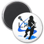 Lacrosse-Jungen-LOCKERES Blau Kühlschrankmagnete