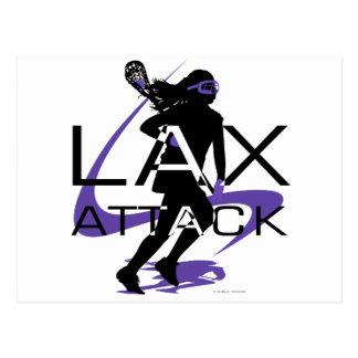 Lacrosse-Mädchen LAX-Angriff lila Postkarte