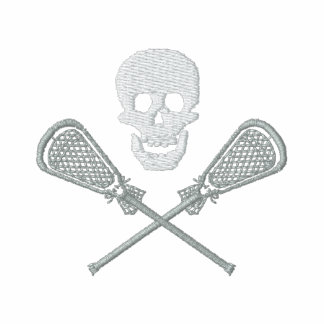 Lacrosse-Schädel-und Kreuz-Stöcke gestickt Besticktes Polohemd