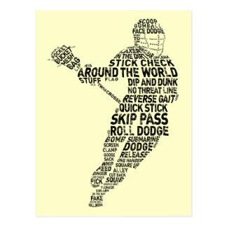 Lacrosse-Spieler-Typografie Postkarte