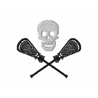 Lacrosse-Stöcke mit Schädel gesticktem Polo-Shirt