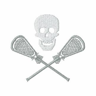 Lacrosse-Stöcke und Schädel gestickter T - Shirt