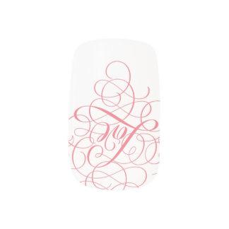 Lacy rosa u. weiße Wirble Liebe-Kalligraphie Minx Nagelkunst