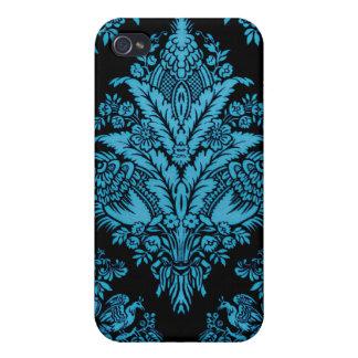 Lacy Vintages Blumen - helles Aqua auf Schwarzem iPhone 4 Schutzhülle