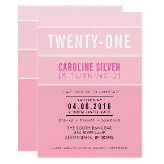 LADEN 21. Geburtstags-Party OMBRE STREIFENS 12,7 X 17,8 Cm Einladungskarte