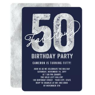 Laden 50. Party des Geburtstags-silberne 12,7 X 17,8 Cm Einladungskarte