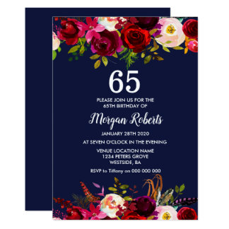 Laden Blumen65. Geburtstags-Party Karte