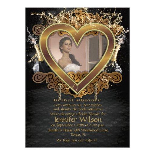 laden goldenes Brautparty-Foto des Herz-6.5x8.75'  Personalisierte Einladungskarte