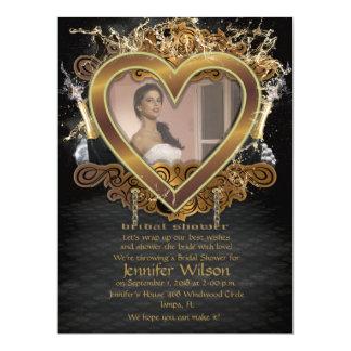 laden goldenes Brautparty-Foto des Herz-6.5x8.75' 16,5 X 22,2 Cm Einladungskarte