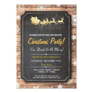 Laden hölzernes Schnee-Weihnachten 12,7 X 17,8 Cm Einladungskarte