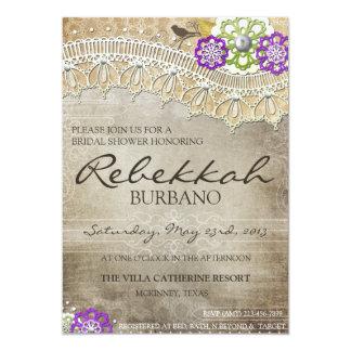 Laden rustikale Spitze beunruhigtes Brautparty ein Ankündigungskarte