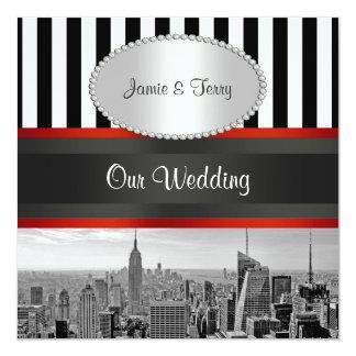 Laden Schwarz-weiße Hochzeit NYC Skyline BW Quadratische 13,3 Cm Einladungskarte