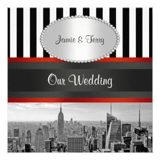 Laden Schwarz-weiße Hochzeit NYC Skyline BW Streif Individuelle Einladung