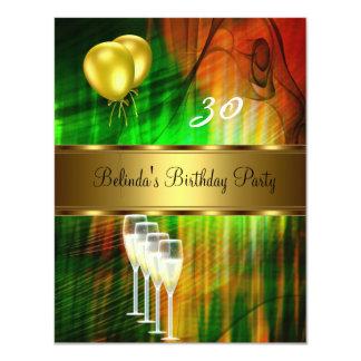 Laden Sie 30. Geburtstags-Party-Grün-Gelb-Ballone Personalisierte Ankündigungskarten