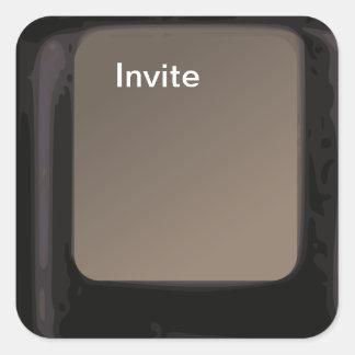 Laden Sie Knopf-Computer-Schlüssel-Einladungsaufkl Quadratsticker