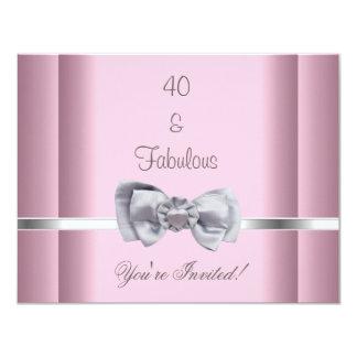 Laden Sie Party-Silber-Bogen-Bild-fabelhaftes 40. 10,8 X 14 Cm Einladungskarte