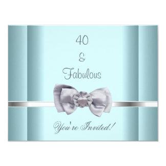 Laden Sie Party-Silber-Bogen-fabelhaftes 40. Blau 10,8 X 14 Cm Einladungskarte