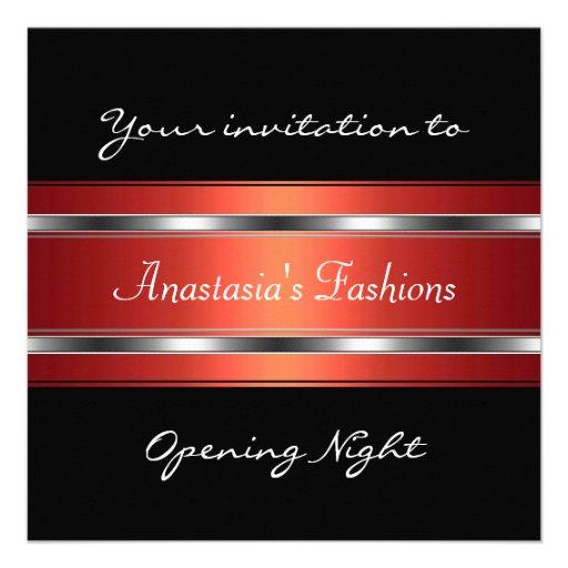 Laden Sie Premiere-schwarzes rotes Silber ein Personalisierte Ankündigungskarte