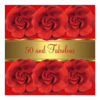 Laden Sie rotes Blumen-Gold 50 und fabelhaftes ein Quadratische 13,3 Cm Einladungskarte