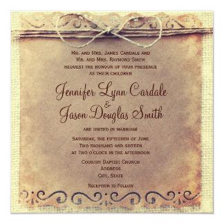 Lädt rustikales Land beunruhigte Vintage Hochzeit Quadratische 13,3 Cm Einladungskarte