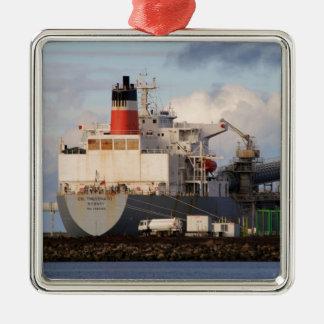 Ladungsschiff Quadratisches Silberfarbenes Ornament
