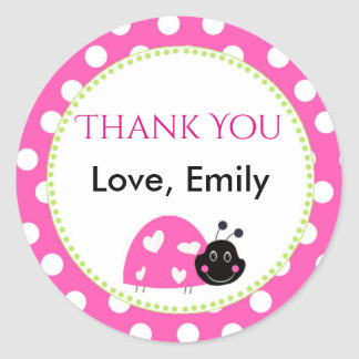 Ladybug Hot Pink Green Gift Favor Label Polka Dots Runder Aufkleber