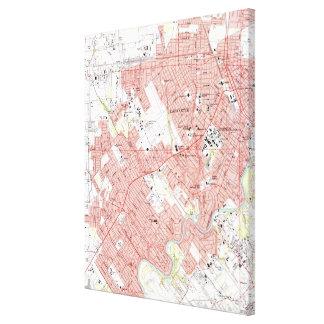 Lafayette Louisiana Map (1983) Leinwanddruck