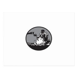 Lagerbewohner-Lagerfeuer-Tasse Postkarte