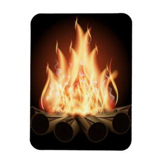 LAGERFEUER-VEKTORlogo-HEISSE FLAMMEN-SCHWARZE Magnet