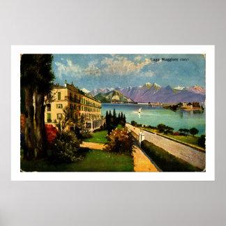 LAGO MAGGIORE, schöne Farbe 1909 ITALIENS Poster