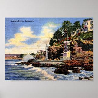 Laguna-Strand, Kalifornien, Vintage Ansicht Poster