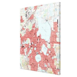 Lakeland Florida Map (1994) Leinwanddruck