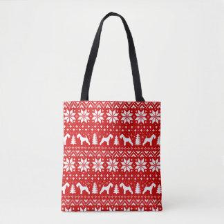 Lakeland-Terrier-Silhouette-Weihnachtsmuster-Rot Tasche