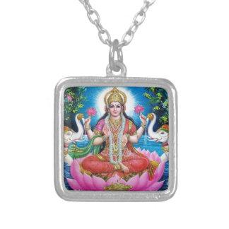 Lakshmi Göttin der Liebe, des Wohlstandes und des Halskette Mit Quadratischem Anhänger