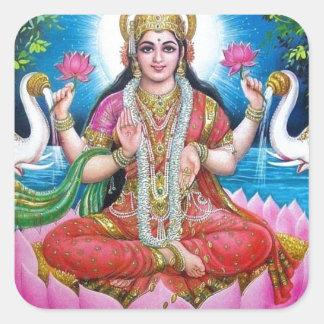 Lakshmi Göttin der Liebe, des Wohlstandes und des Quadratischer Aufkleber