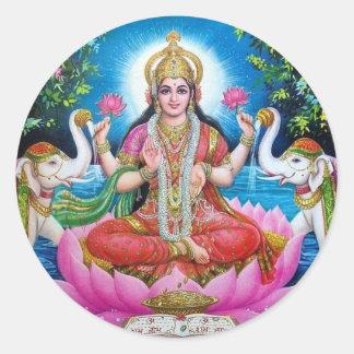 Lakshmi Göttin der Liebe, des Wohlstandes und des Runder Aufkleber
