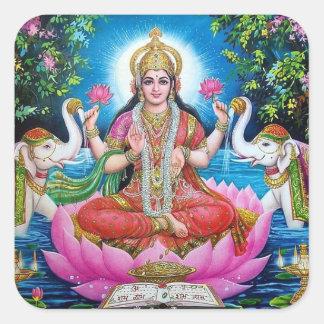 Lakshmi Göttin des Reichtums-Aufklebers Quadratischer Aufkleber