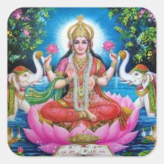 Lakshmi Göttin des Reichtums, des Glückes und der Quadratischer Aufkleber