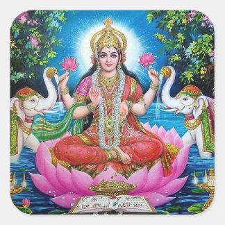 Lakshmi Göttin-großer quadratischer Aufkleber