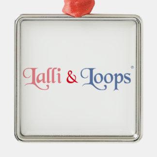 Lalli und Loops Artikel Quadratisches Silberfarbenes Ornament