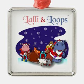 Lalli und Loops Quadratisches Silberfarbenes Ornament