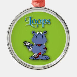 Lalli und Loops Rundes Silberfarbenes Ornament