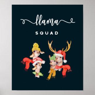Lama-Gruppe, Weihnachtshut-Aquarell-Kalligraphie Poster