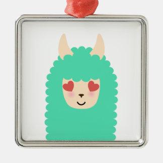 Lama-Liebe Emoji Silbernes Ornament