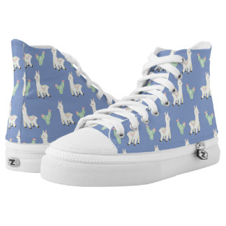 Lama-Muster Hoch-geschnittene Sneaker