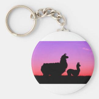 Lama- und cria-Silhouette Schlüsselanhänger