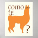 Lama-Zitat-Plakat-Druck: Como te Lamas