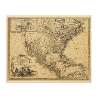 L'Amérique septentrionale Nordamerika-Karte (1757) Holzdruck